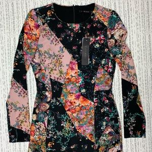 NWT Black Halo Floral Sheath Long Sleeve Dress